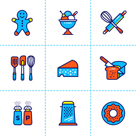 utensilios de cocina: Vector collection of outline icons, bakery, cooking. Premium quality modern icons suitable for info graphics, print media and interfaces