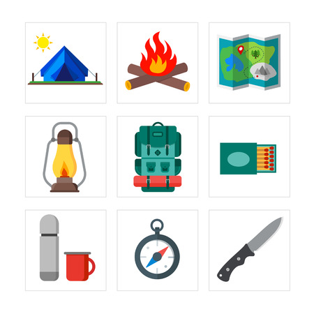 matchbox: Collection of summer camping, outdoor icons. Isolated vector illustration. Suitable for print, banners and website