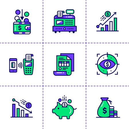 Vector Outline Icons EINKOMMEN Von Finanzen, Banken. Hochwertige ...
