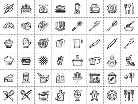 Outline icons collection, bakery and cooking. Modern outline icons suitable for print, banners and websites. Ilustração
