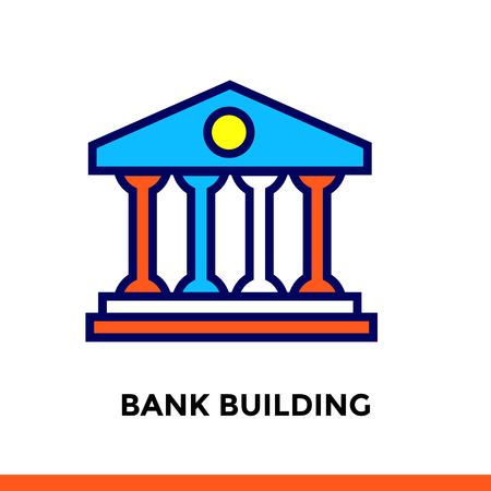 suitable: Vector outline icons BANK BUILDING of finance, banking. High quality modern icons suitable for print, website and presentation