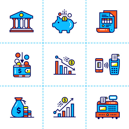 cash register building: Vector linear icons set of finance, banking. High quality modern icons suitable for print, website and presentation Illustration