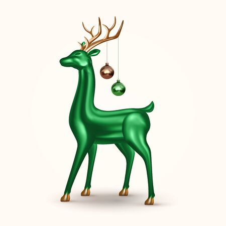 Realistic green glass deer with Christmas balls. Vector holiday decoration for banner, postcard, website