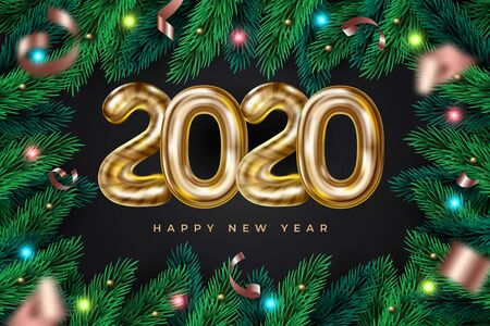 Realistic Happy New 2020 Year wreath frame with garland. Vector festive background with pine branches and 2020 text for invitation, greeting card and banner. Иллюстрация