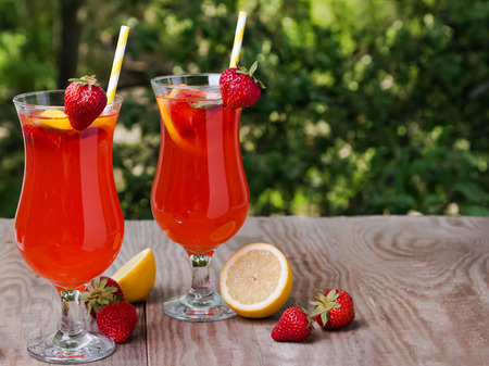 Fresh homemade strawberry lemonade photo
