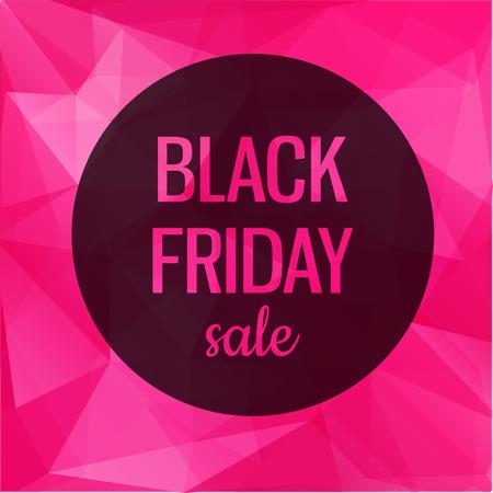 rosa negra: Cartel con fondo de color rosa geométrica. Negro venta Viernes Vectores