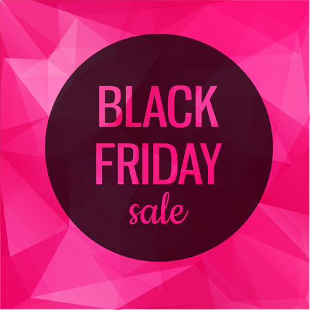 Poster with pink geometric background. Black friday sale