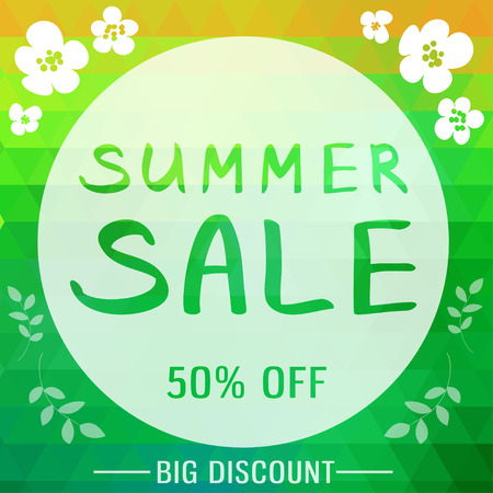 brigh: Abstract summer sale poster in brigh background with triangles