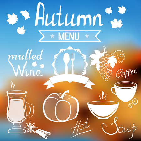 restaraunt: Autumn menu items and templates on blurred background, EPS10 vector illustration Illustration