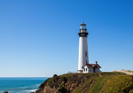 california coast: Old lighthouse on California coast at sunny day Stock Photo