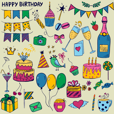 colofrul: Cute colofrul set of birthday party elements in doodle style
