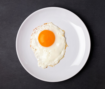 white eggs: Fried egg in a white plate on the black background, top view