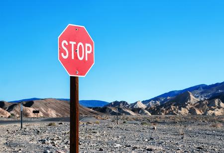 desolate: Stop sign in a desolate area Stock Photo