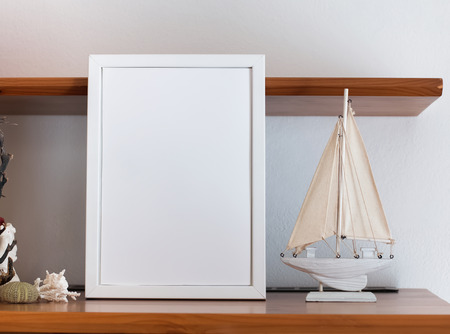 Mock Up With Blank White Frame And Little Wooden Boat Stock Photo ...