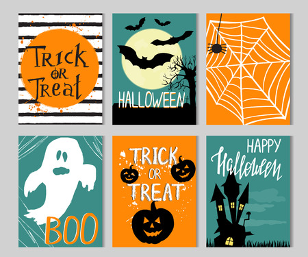 Set of cards with Halloween elements and quotes