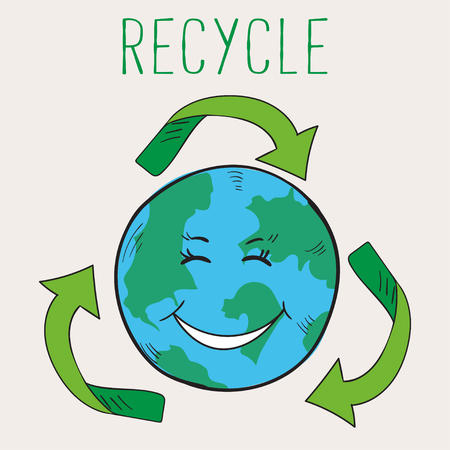 Ecological poster. Cartoon style Earth happy when people recycling waste