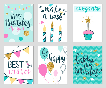 Set Of Six Colorful Birthday Card Templates Royalty Free Cliparts