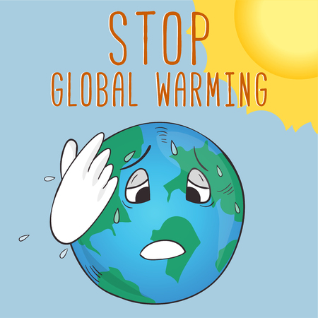Ecological poster with cartoon style Earth and text stop global warming Ilustração