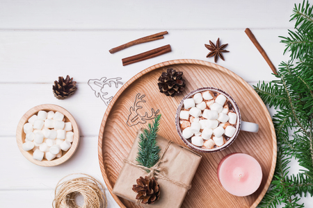comfort food: Cocoa with marshmallows, fir branches and other Christmas related small objects Stock Photo
