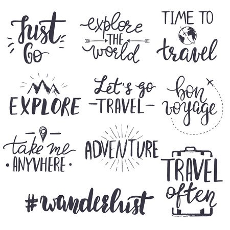 Set of inspirational travel quotes. Translation of the phrase