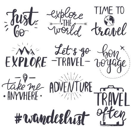 Set of inspirational travel quotes. Translation of the phrase bon voyage - good trip.