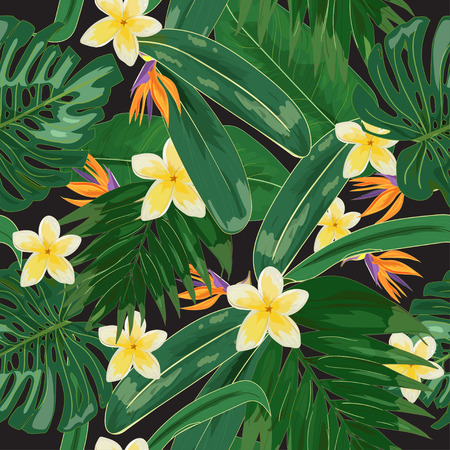 Tropical seamless pattern with plants and flowers