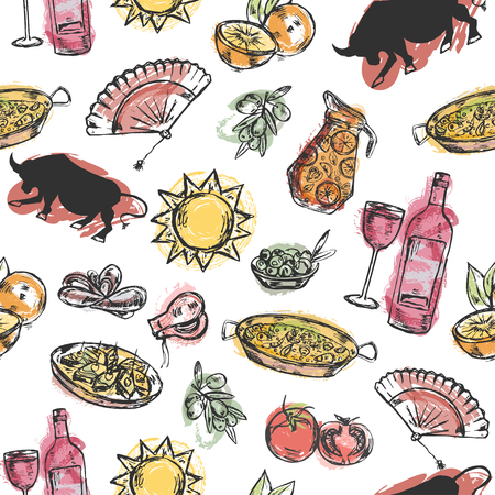 Seamless pattern with hand drawn elements typical for spanish culture.  Vettoriali