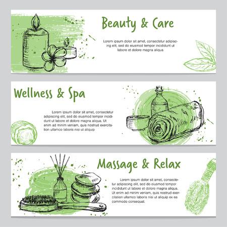 Ensemble de trois bannières sur le thème du spa avec des produits de massage et de soins corporels dessinés à la main