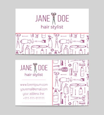 Plantilla de tarjeta de visita de peluquería o peluquería Ilustración de vector