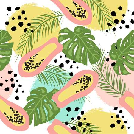 Tropic seamless pattern with doodle style leaves and papayas. Summer background. Ilustração Vetorial