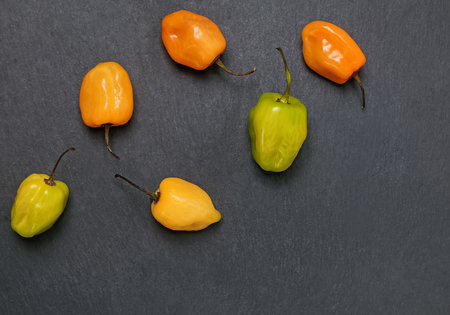 Fresh spicy habanero peppers of different colors on the black stone background