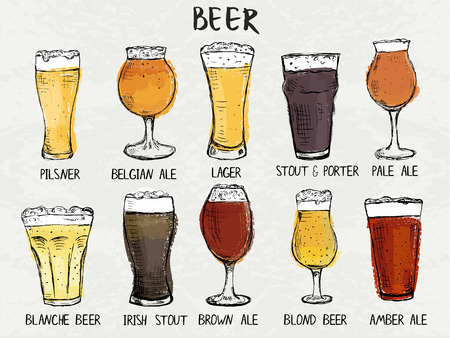 Hand drawn det of different types of glasses for beer