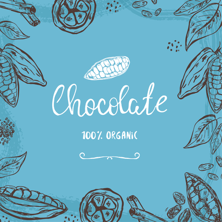 Template with hand drawn cocoa pods, beans and leaves Illustration