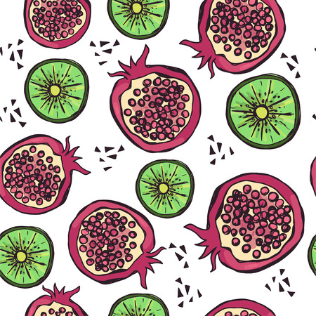 Bright seamless pattern with hand drawn fruits