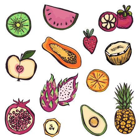 Hand drawn set of different kinds of fruits Stock Illustratie