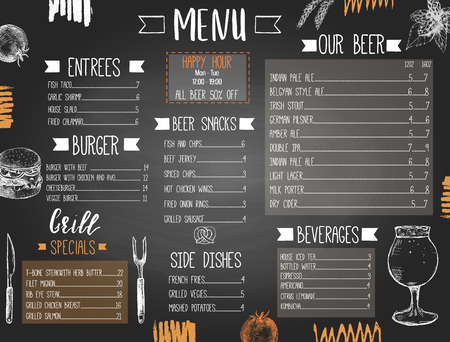 Modèle de menu de pub ou de bar à bière avec de la nourriture et de la bière dessinées à la main