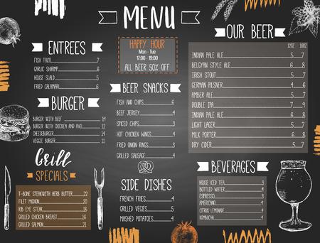 Szablon menu piwnego pubu lub baru z ręcznie rysowanym jedzeniem i piwem