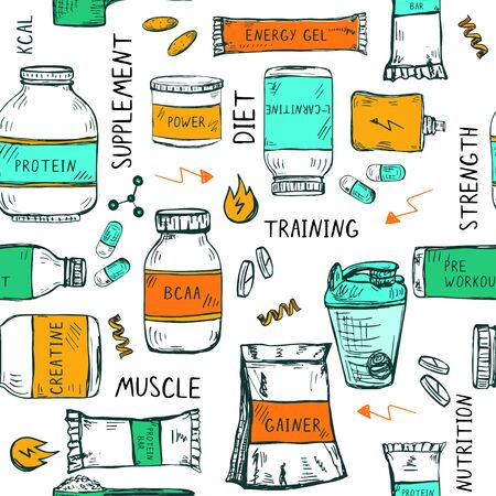 Seamless pattern with hand drawn sport nutrition items: bottles, jars, shaker and other