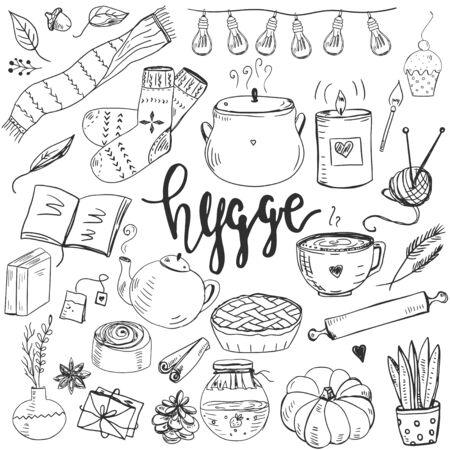Set of hand drawn cute elemtns for making cosy mood. Stock Illustratie