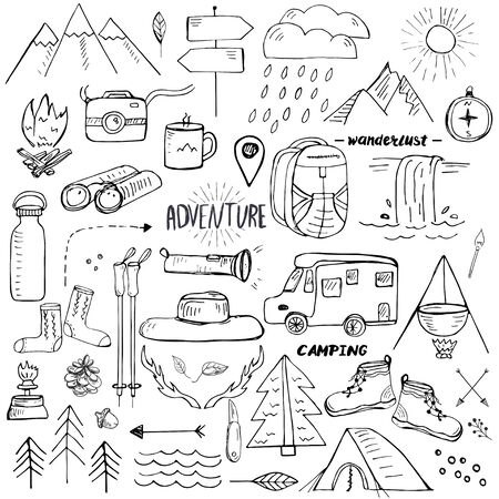 Adventure travel set. Hand drawn doodle style elements related to hiking, camping and travelling in mountains Illusztráció