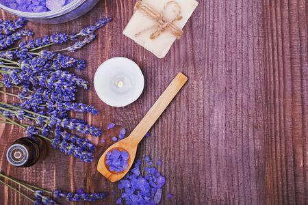Spa still life with lavender and aroma oils Reklamní fotografie