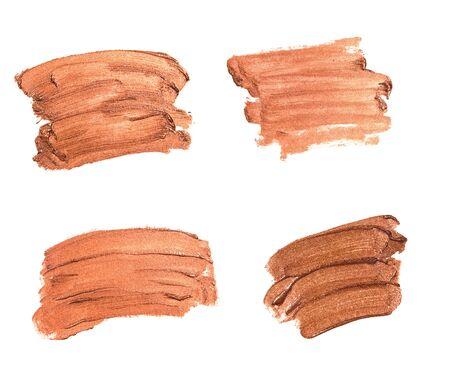 Set of shiny bronze brush strokes of paior cosmetics
