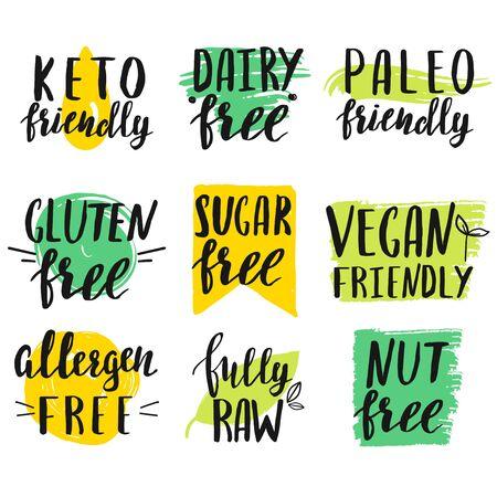 Conjunto de signos de restricción de dieta moderna con letras a mano.