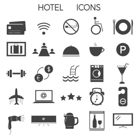 Set of modern signs and icons for illustrating hotel services and amenities