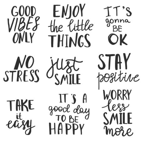 Set of positive thinking quotes and expressions.