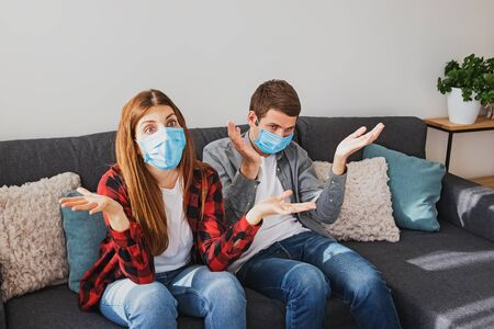 Young couple tired from quarantine and self isolation