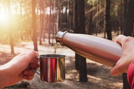 Man pouring tea from flask in a metal cup while camping in pine forest. Фото со стока