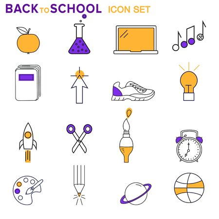 Set of school and study related modern icons