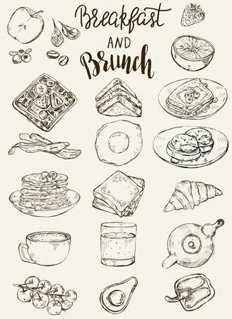 Set of traditional breakfast dishes, bakery and drinks. Vector Illustratie
