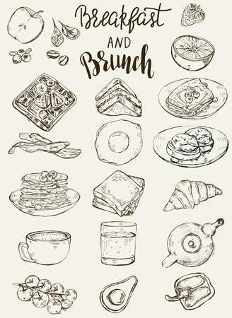 Set of traditional breakfast dishes, bakery and drinks. Vektoros illusztráció
